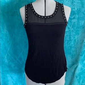 Black tank with sheer top and studs
